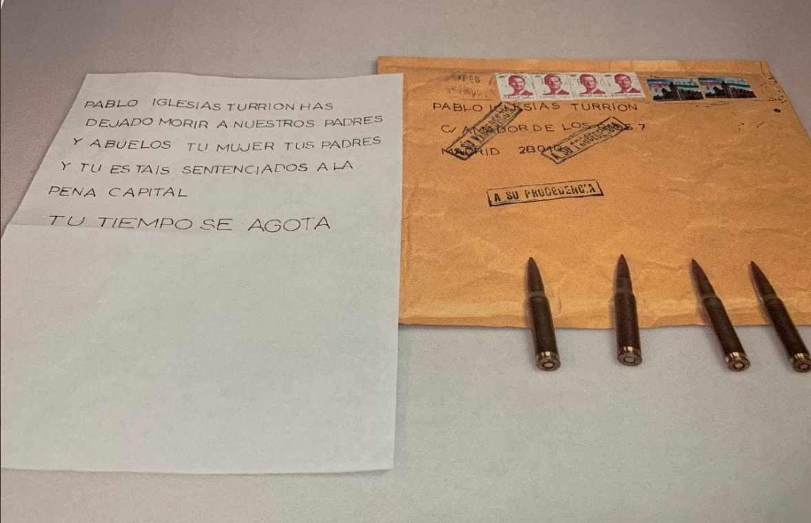 Carta con amenazas y balas