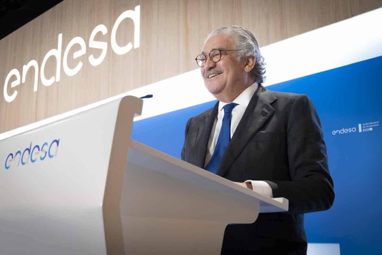 El consejero delegado de Endesa, José Bogas, durante el discurso de la junta de accionistas