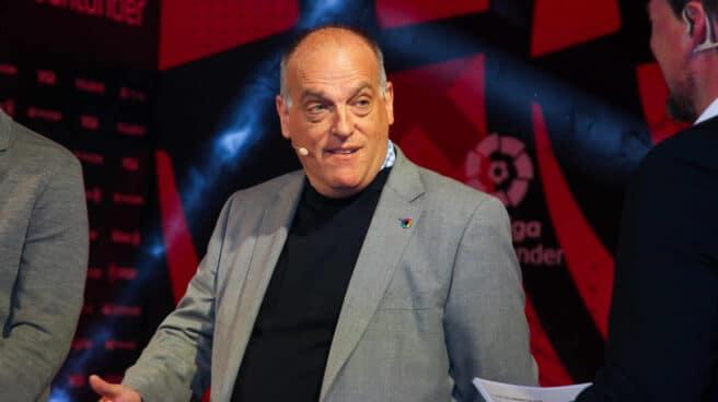 Javier Tebas, presidente de LaLiga en una presentación de un evento