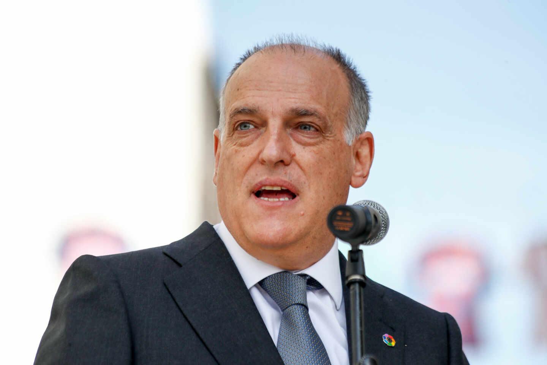 Javier Tebas, presidente de LaLiga en un acto de promoción de un derbi