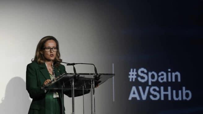 a vicepresidenta tercera y ministra de Asuntos Económicos y Transformación Digital, Nadia Calviño, interviene en la presentación del Plan 'Spain Audiovisual' Hub
