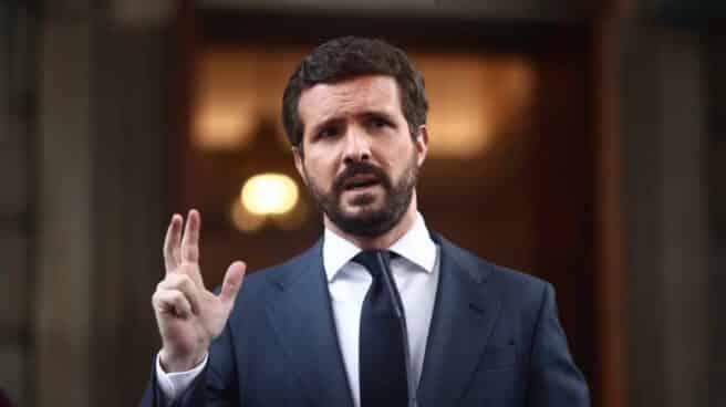 El líder del PP, Pablo Casado, interviene en el Congreso de los Diputados.