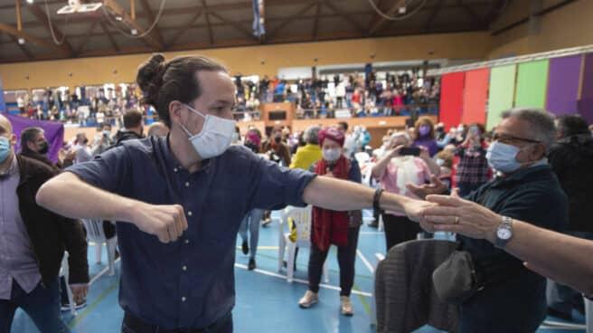 Iglesias este martes en un acto electoral en Getafe