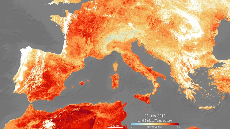 Mapeo de la Agencia Espacial Europea (ESA) de la ola de calor extrema en Europa en julio 2019. El mapa se genera utilizando el radiómetro de temperatura de la superficie terrestre y del mar de Copernicus Sentinel-3.