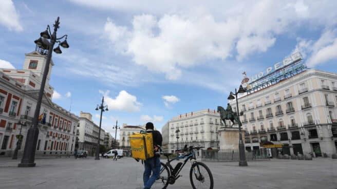 Un repartidor de Glovo en Madrid.