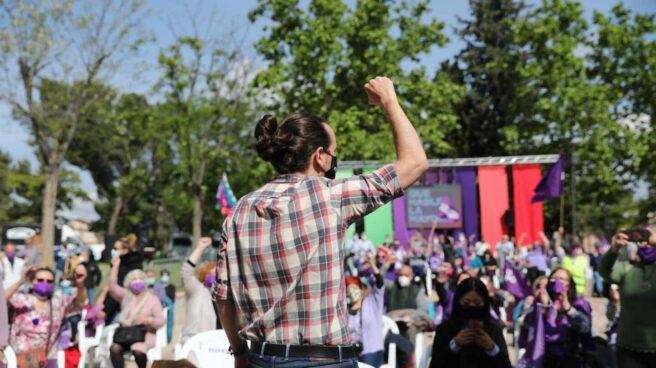 Pablo Iglesias este viernes en un acto en el madrileño barrio de Usera