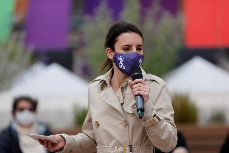 Irene Montero, en un acto preelectoral de Podemos para el 4-M.