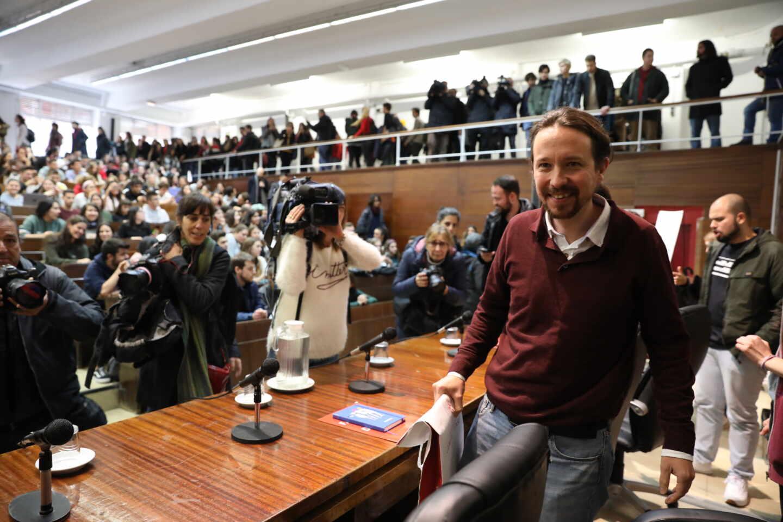Pablo Iglesias, en un acto en la facultad de Derecho de la Complutense, en 2019