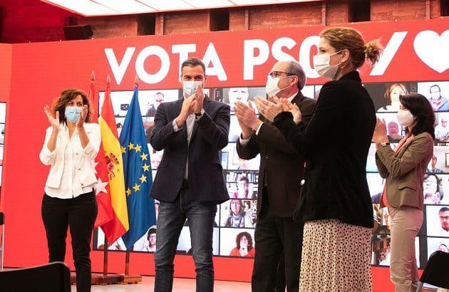 Sánchez y Gabilondo, en el acto electoral de Ferraz para el 4-M.