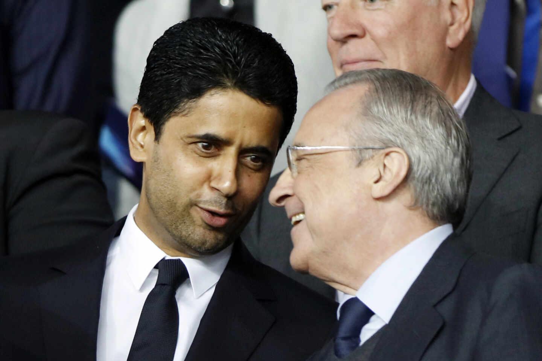 Los presidentes del PSG y Real Madrid, Nasser Al-Khelaifi y Florentino Pérez, durante un partido de la Champions League en 2019