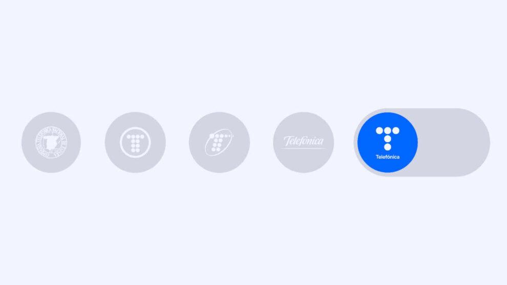 Los logos que ha tenido Telefónica a lo largo de la historia.