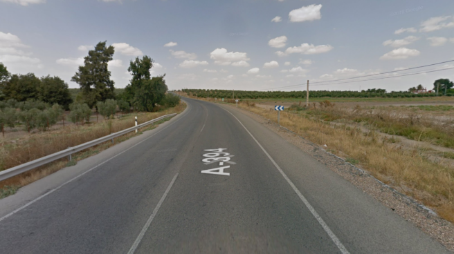 Tramo de la carretera A-394, en la que se produjo el accidente mortal