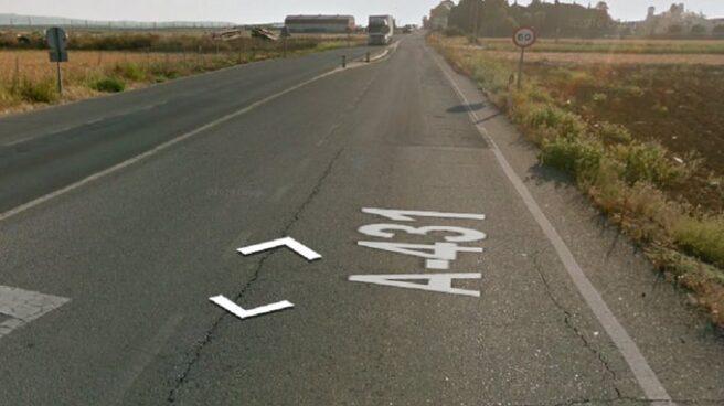 Punto de la carretera A-431 donde se produjo el accidente