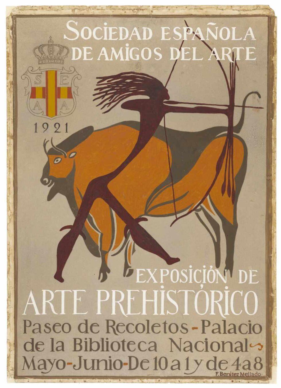 Dibujo original para cartel de Exposición de Arte Prehistórico
