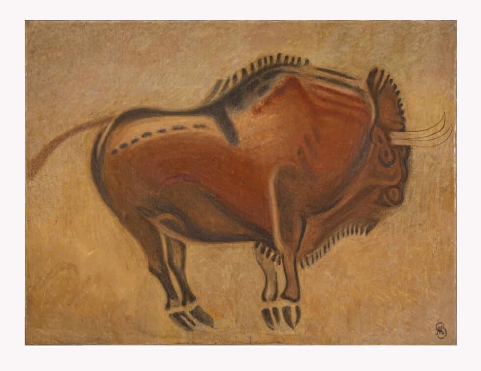 Cuadros con representaciones de animales del techo de los polícromos de la Cueva de Altamira.