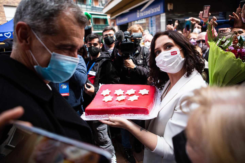 Isabel Díaz Ayuso, este martes durante un acto del PP en Leganés.