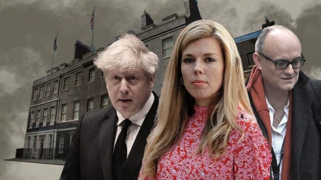 Imagen de Boris Johnson Carrie Cummings con Downing Street de fondo