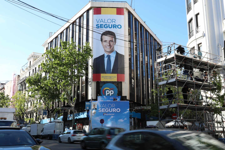 Fachada de la sede del PP en el número 13 de la madrileña calle de Génova.