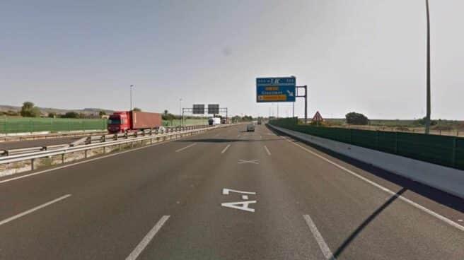 Carretera A-7 a su paso por Crevillent (Alicante).