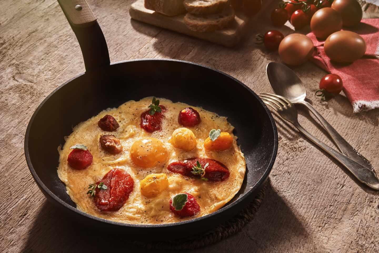 Receta online del curso gratuito de cocina Orlando: tortilla semicuajada con tomates cherry semiasados