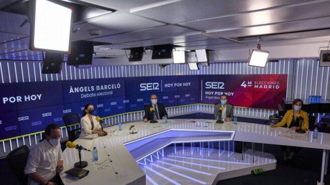 Los candidatos de UP, Pablo Iglesias; Vox, Rocío Monasterio; PSOE, Ángel Gabilondo; Cs, Edmundo Bal, y Más Madrid, Mónica García, en la SER.