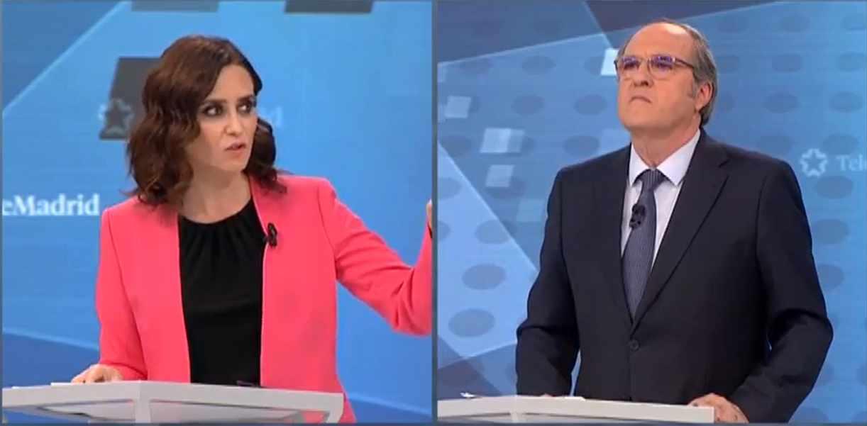 Imagen de archivo. Isabel Díaz Ayuso y Ángel Gabilondo en el debate de las autonómicas de 2019