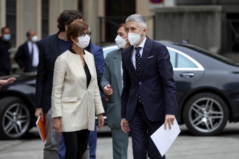 La directora de la Guardia Civil, María Gámez, y el ministro Grande-Marlaska, en un reciente acto.