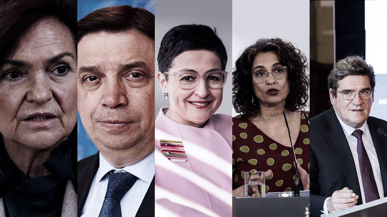 Imagen de las caras de los 5 primeros ministros que más gastos han hecho en el año 2020