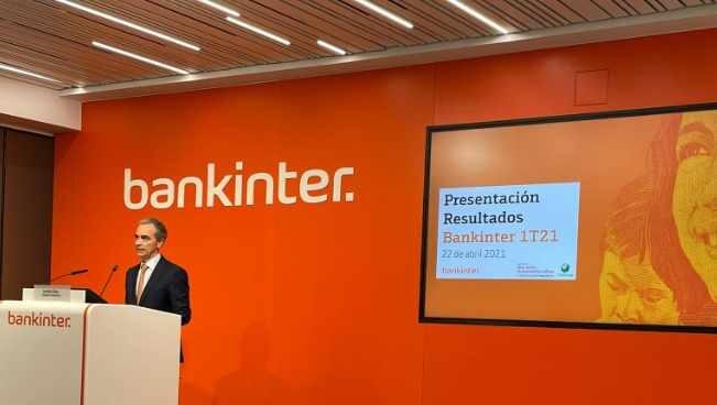 El director financiero de Bankinter, Jacobo Díaz, durante la presentación de resultados del primer trimestre.