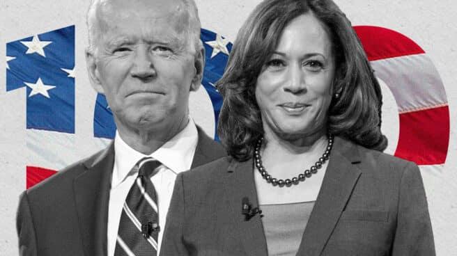 Imagen de Joe Biden y Kamala Harris con un 100 en el fondo con la bandera de EEUU
