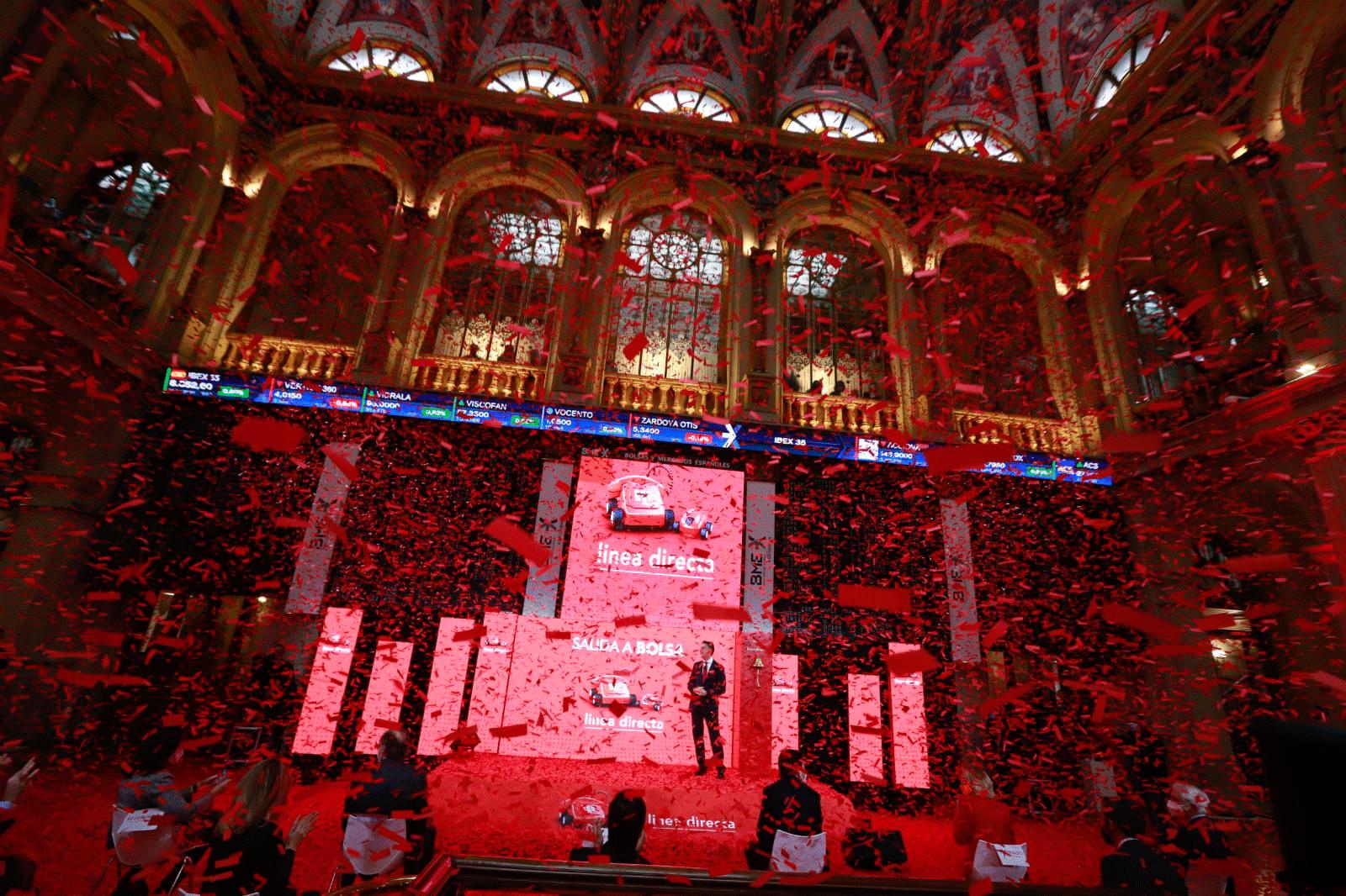 Presentación de la salida a bolsa de Línea Directa en el edificio de la bolsa de Madrid