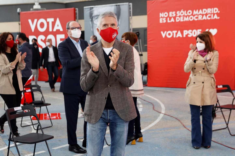 Fernando Grande-Marlaska, en el mitin electoral del PSOE en Getafe.