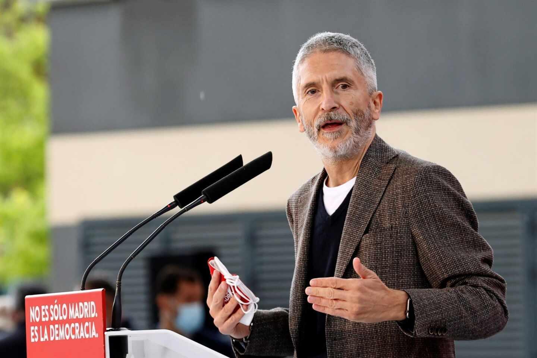 El ministro del Interior, Fernando Grande-Marlaska, en un mitin del PSOE.