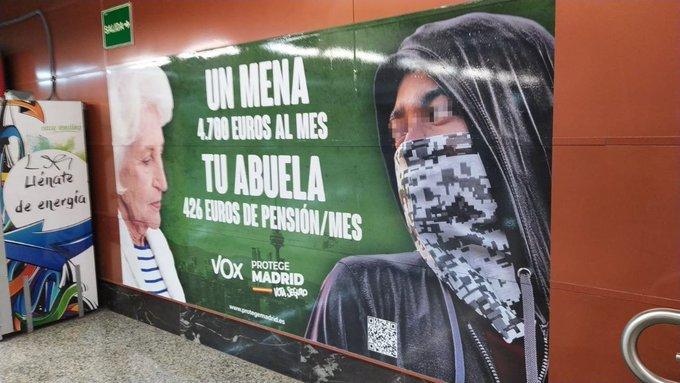 Elecciones 4-M: cartel electoral de Vox sobre los menas.