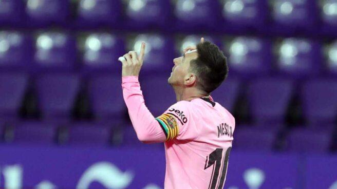 Lionel Messi celebrando su gol 644 con el FC Barcelona