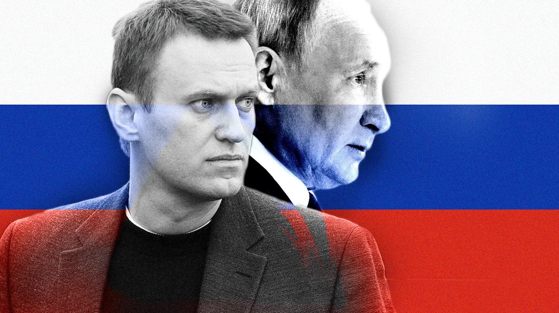 Imagen de Navalni y Putin con la bandera rusa de fondo