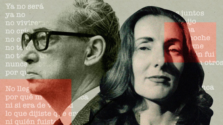 Imagen de Onetti e Idea Vilariono con extractos del poema ya no de fondo