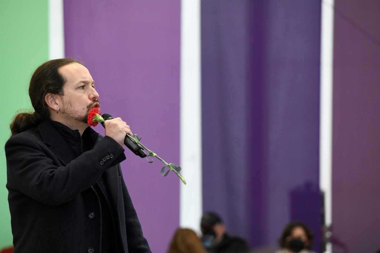 Pablo Iglesias, durante un mitin de Podemos en Villalba.