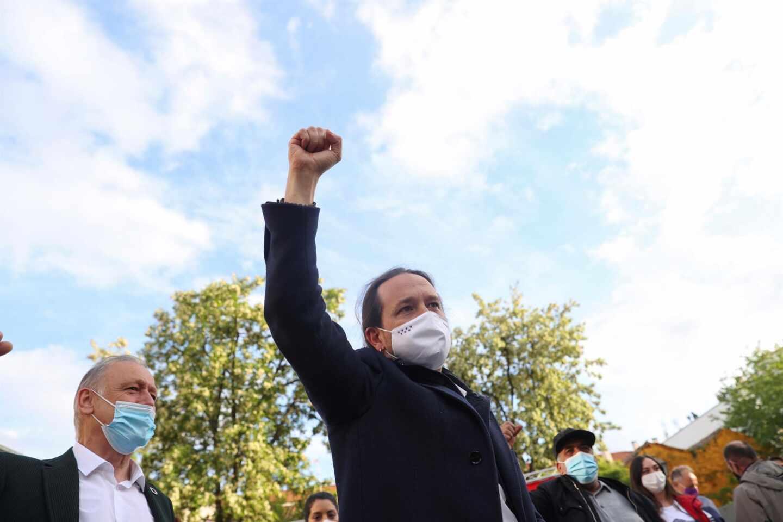 Pablo Iglesias, durante un mitin en Villaverde.