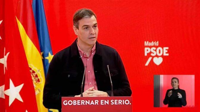 """Sánchez recurre al miedo a un """"Gobierno de Colón"""" para recortar distancias con Ayuso"""