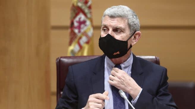 El presidente de la Corporación RTVE, José Manuel Pérez Tornero, en una reciente comparecencia en el Senado.