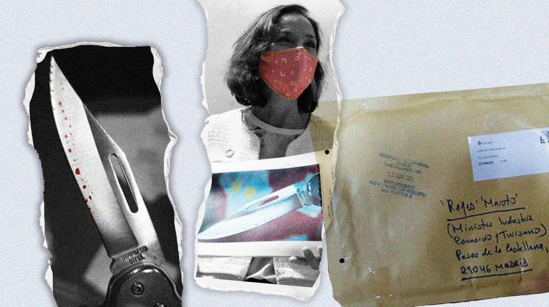 Imagen de Reyes Maroto con el un primer plano del cuchillo recibido y el sobre