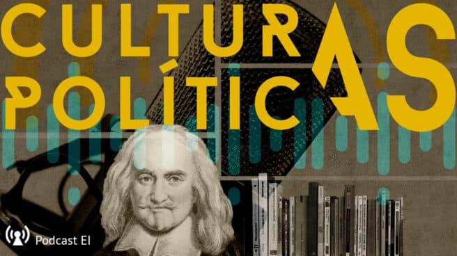 Imagen primera entrega de Culturas Políticas con la imagen de Hobbes y una librería
