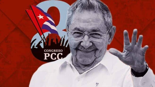 Imagen de Raúl Castro con el logo de el octavo congreso del PCC