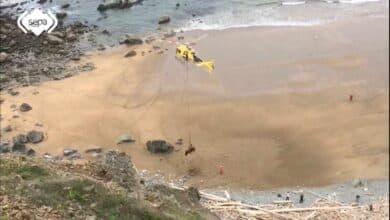 Rescatan con un helicóptero a un toro de 1.000 kilos que se precipitó por un acantilado
