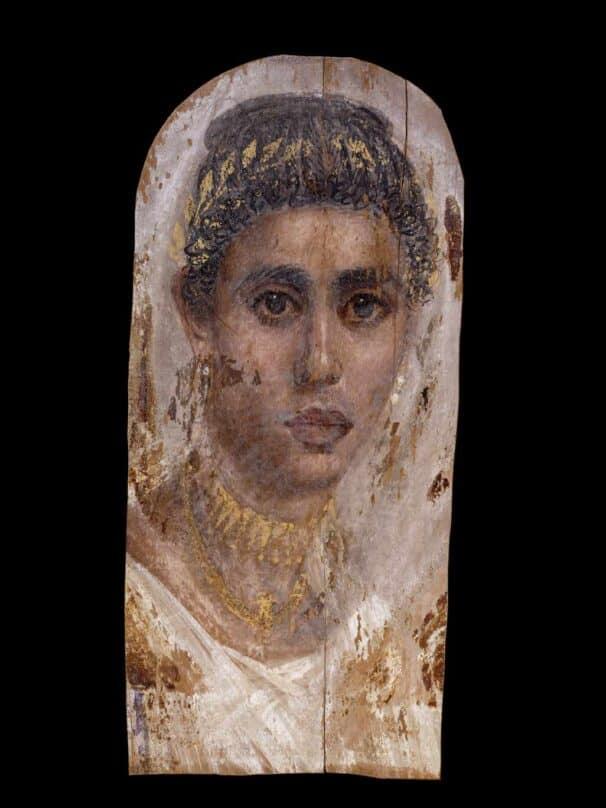 Retrato de una mujer, témpera y encáustica sobre madera de tilo, alrededor de 100-120 d.C., Saqqara, Egipto.