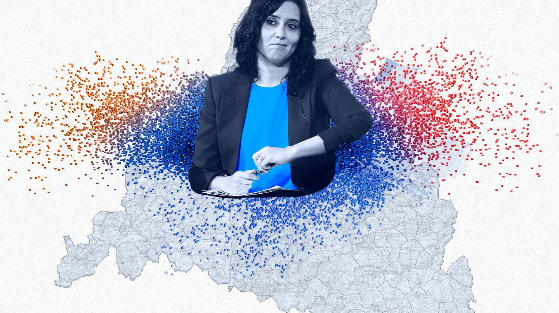 Imagen de Isabel Díaz Ayuso sobre un mapa de la comunidad de Madrid