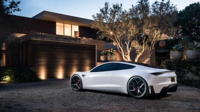 Tesla Roadster real que se ha adaptado a versión juguete por Matchbox, de Mattel