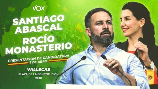 Cartel de presentación del acto de Vox en Vallecas.