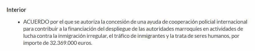 Partida de 32.369.000 euros del Ministerio del Interior para el control migratorio en Marruecos en 2019.